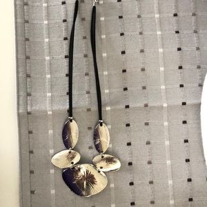 Silver and Black Cluster Necklace